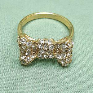 Kate Spade Rhinestone Gold Tone Bow Ring 7